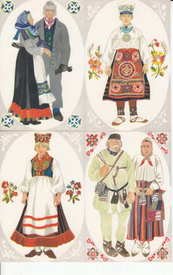 Unused vintage postcard set of 4 from 70s - Estonian folk costumes - made in Estonia - artist V. Tolli- Estonian National Costumes