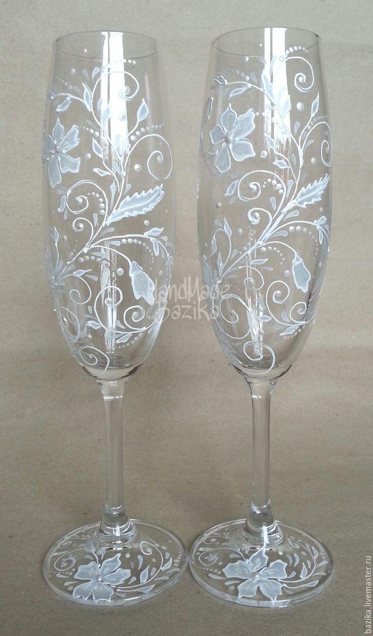 Купить Свадебные бокалы с росписью. БЕЛЫЕ - свадебные бокалы, свадебные бокалы с лепкой