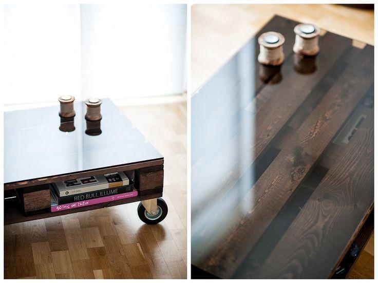 Edler DIY Palettentisch Www.berleben.de Palette Paletten Couch Tisch Table  Coffeetable Glas Rauchglas