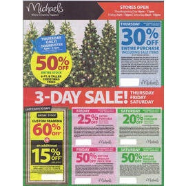 MICHAELS 2012 BLACK FRIDAY AD The Michael's Black Friday 2012 ad is out. It looks like they are starting their sale on Thanksgiving Day Thursday with a 30% off everything coupon valid for that day. They also have other coupons for Black Friday for up to 50% off. One of the big deals they have is for all Christmas trees, which are at least 50% off. The ad has a great selection of Christmas stuff, along with general crafting and framing supplies.