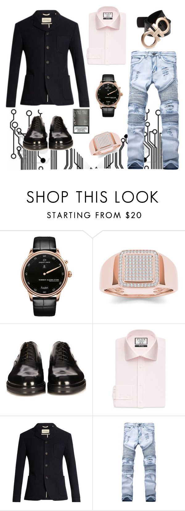 """""""Pale male"""" by acaprice ❤ liked on Polyvore featuring Jaquet Droz, Fendi, Thomas Pink, Oliver Spencer, Salvatore Ferragamo, men's fashion and menswear"""