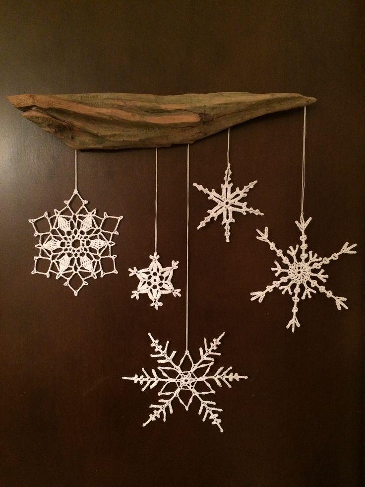 Driftwood snowflake mobile.