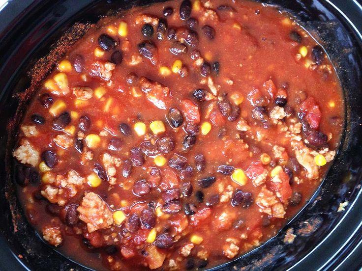 Kalkoen en zwarte bonen-chili