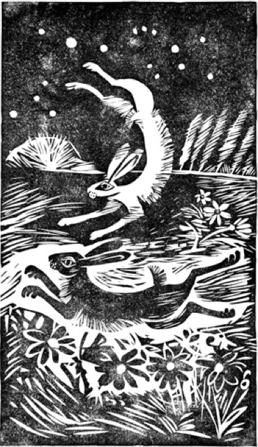 """'Dancing Hares' linocut, Celia Hart. Reminds me of the art within the animated film, """"Watership Down."""""""