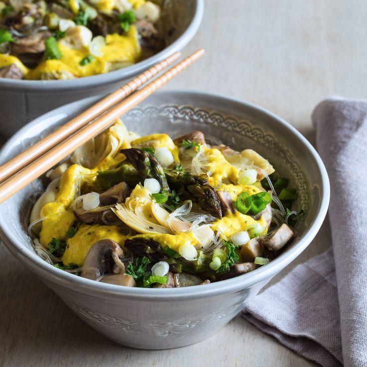Mung Bean Noodle Saffron Stir Fry #glutenfree #mungbeans #vegan