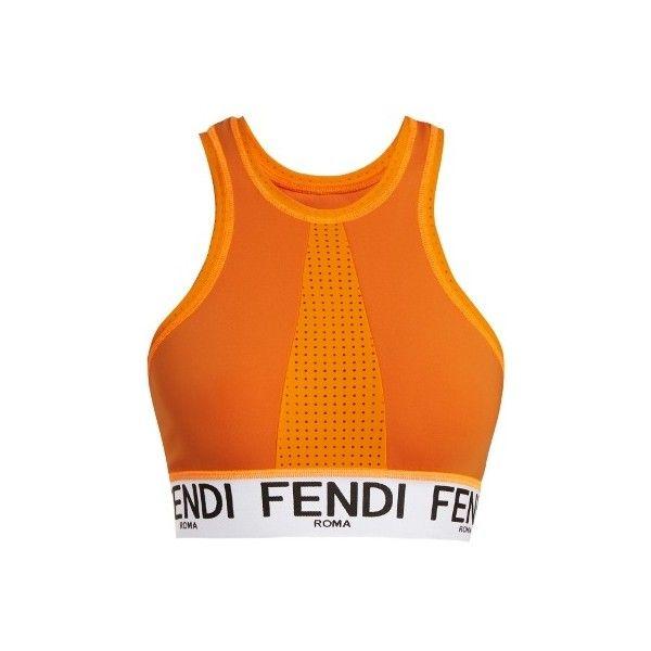 Fendi Logo-jacquard performance bra ($265) ❤ liked on Polyvore featuring activewear, sports bras, orange, racer back sports bra, neon sports bra, fendi, neon activewear and tangerine activewear
