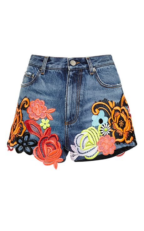 Denim Shorts With Floral Motif Applique by Christopher Kane for Preorder on Moda Operandi