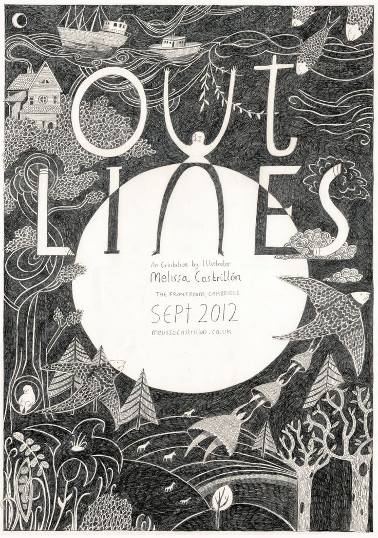 Outlines exhibition poster, by Melissa Castrillón. http://www.frontroomcambridge.com/