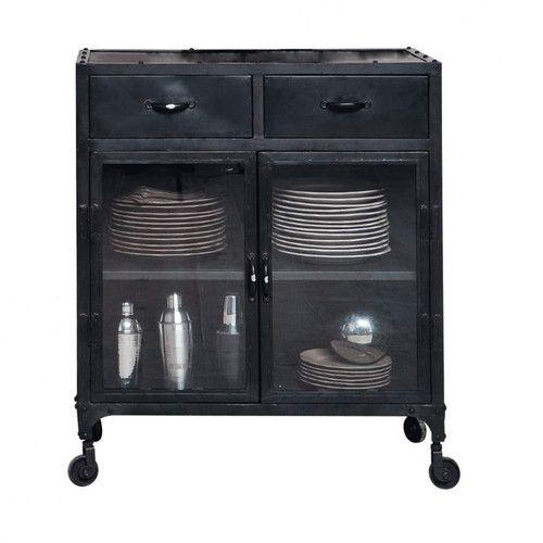 Credenza nera con vetrine stile industriale a rotelle in metallo L 80 cm