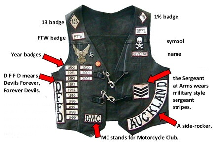 Club members often personalize the front of their patch vest by adding badges…