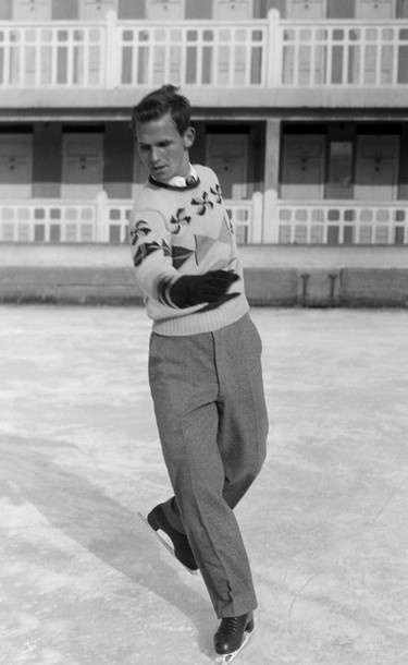 Dick Button practicing in Saint-Moritz, Switzerland during the Winter Olympic Games, February 1948. Button won the gold medal and repeated his feat in Oslo, Norway in 1952.