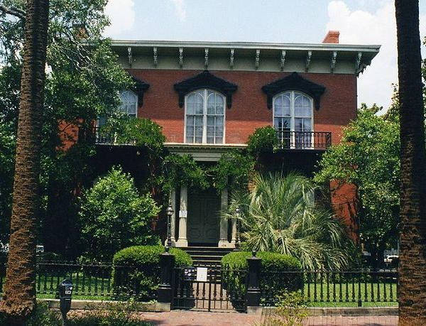 The Mercer-Williams House, Monterey Square, Savannah, Georgia, was designed by John S. Norris for Gen. Hugh Weedon Mercer (great-grandfather of songwriter Johnny Mercer). Construction of the house began in 1860, but was interrupted by the Civil War, & finally completed around 1868 by the new owner, John Wilder. After several tenants, it lay vacant for a decade until in 1969 when Jim Williams, one of Savannah's earliest & most dedicated private restorationists, bought the house & restored it.