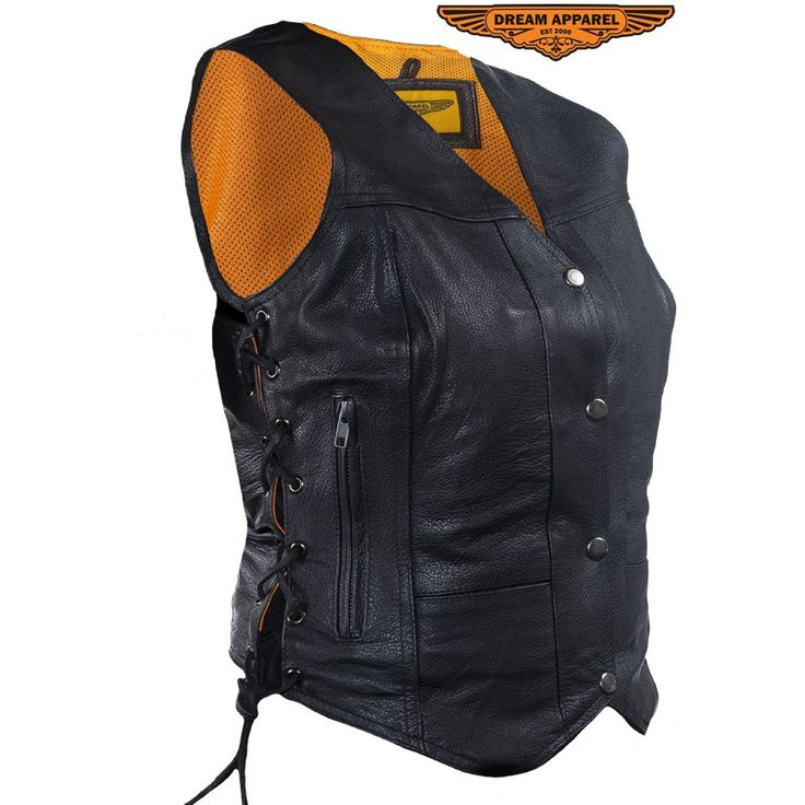 Womens Leather Motorcycle Vest With Concealed Carry Pockets