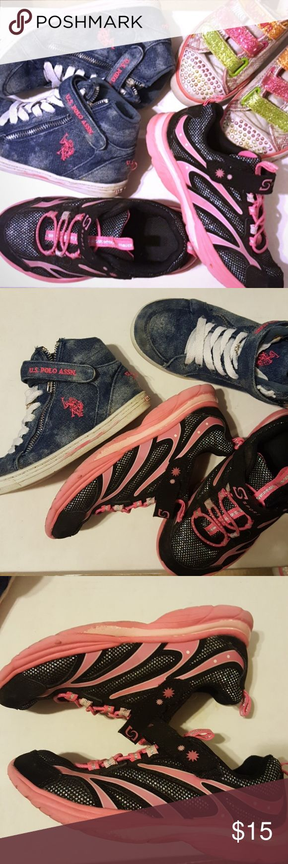 BUNDLE- GIRLS SNEAKERS SIZE 1 (FREE size 2) Bundle of 2 girls tennis shoes sneakers size 1 (Polo denim needs to wash, Black is clean)  ??FREE - skechers twinkle toes size 2 very worn but still good to play outside Skechers Shoes Sneakers