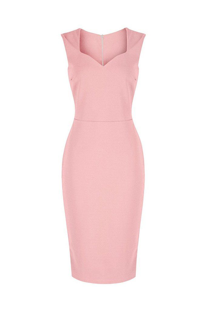 Salmon Pink 40s Bodycon Hollywood Pencil Dress