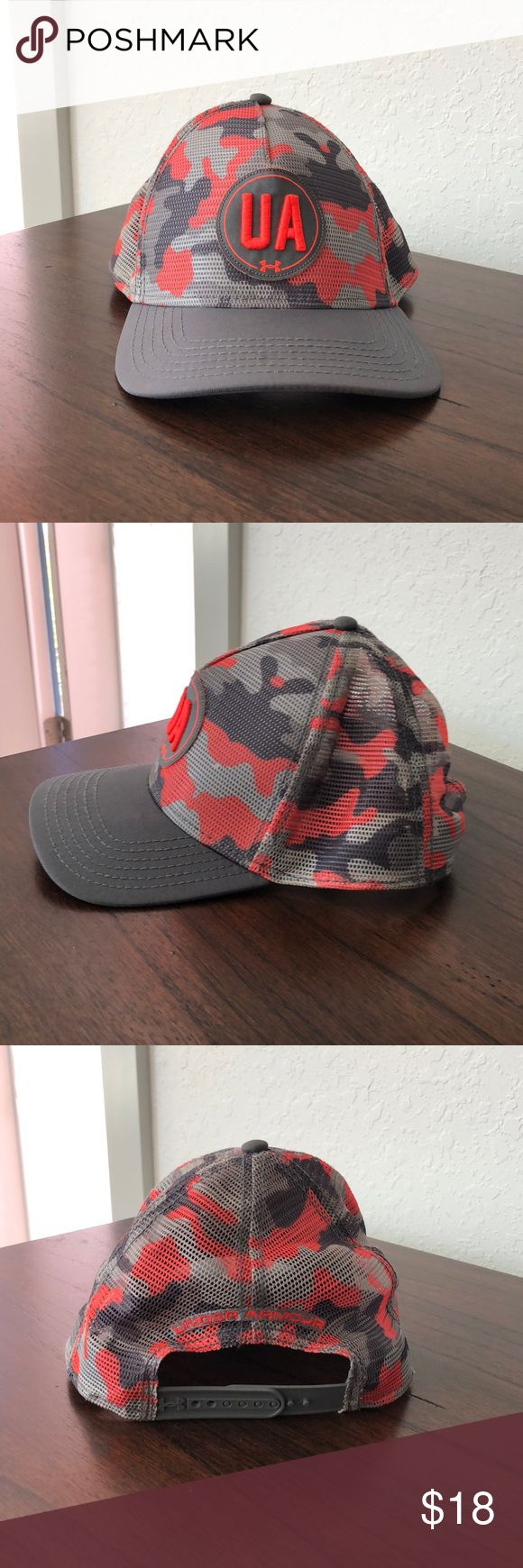 Under Armour Orange/Grey Camo SnapBack Hat Under Armour Orange/Grey Camo SnapBack Hat Under Armour Accessories Hats