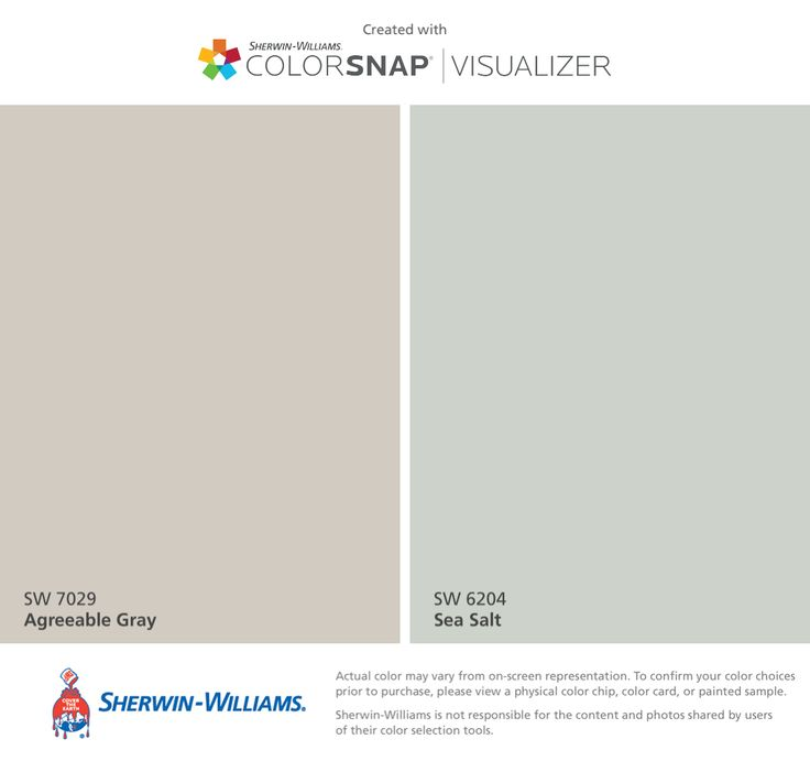 I found these colors with ColorSnap® Visualizer for iPhone by Sherwin-Williams: Agreeable Gray (SW 7029), Sea Salt (SW 6204).