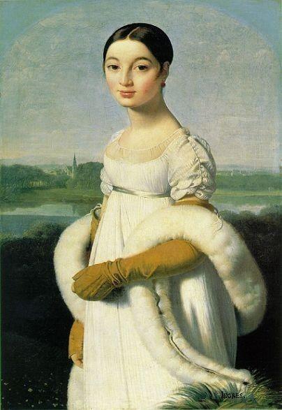 Ingres, Mlle. Caroline Riviere, oleo sobre tela. Neoclasicismo.