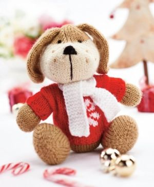 Rhubarb the huggable pup - free knitting pattern download from Let's Knit!