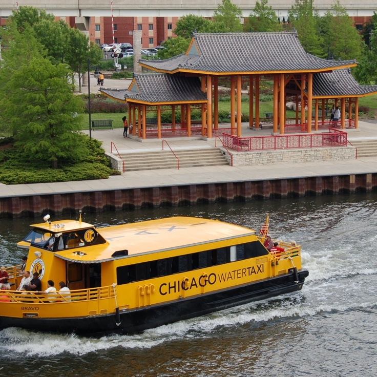 Chicago Water Taxi at Ping Tom Park stop (Chicago Pin of the Day, 6/21/2015).