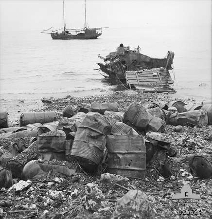 From August 25th – September 7th 1942, the Australian-held New Guinean city of Milne Bay was attacked by Japanese forces. However, intelligence warned Australian forces of the attack, so they were able to attack and destroy Japanese landing crafts (like the one seen destroyed on the beach). The Aussies were able to hold off the attack, and the city soon became a military base.