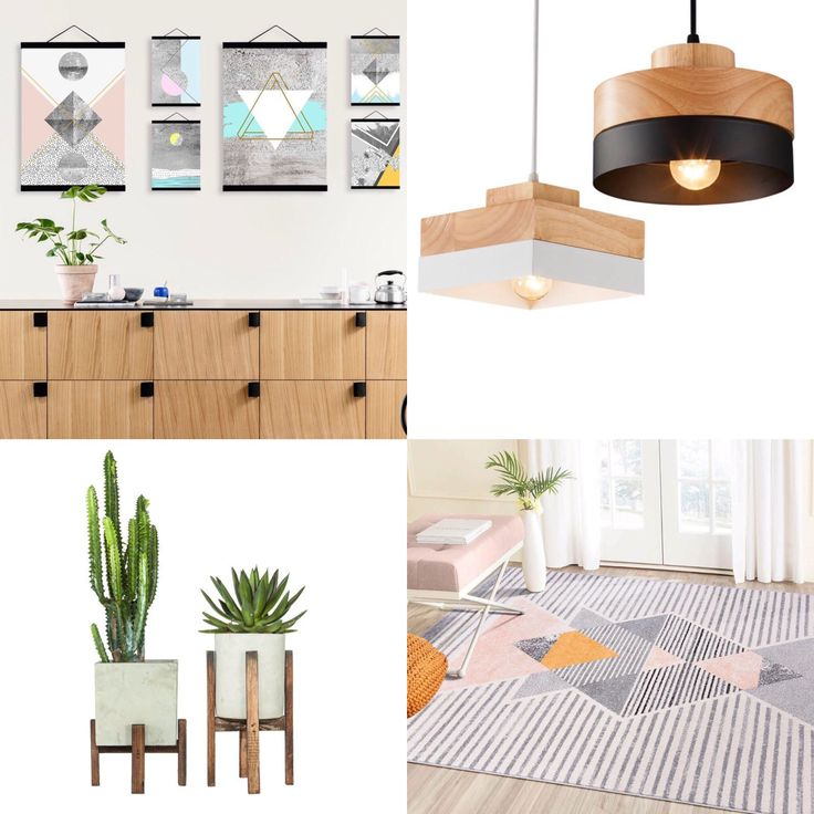 Modern earthy pastel mix of art, rugs, lighting & accessories 🙌🏼