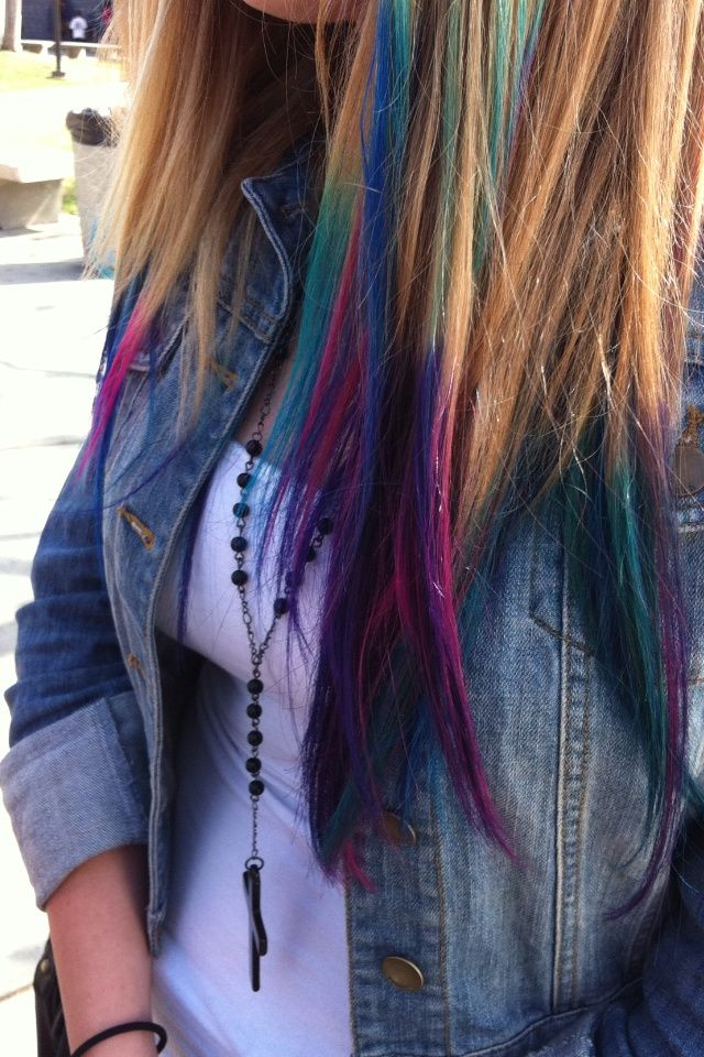 Multi Colored Hair Tips Google Search Dyed Hair Hair