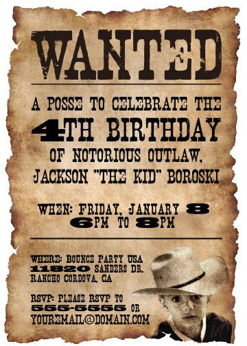 Wanted Poster Western Themed Birthday Party Invitation