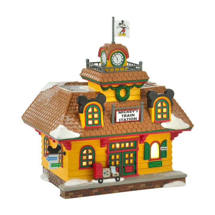 The Jolly Christmas Shop - Department 56 Disney Village Mickey's Train Station Building 4032203, $88.00 (http://www.thejollychristmasshop.com/department-56-disney-village-mickeys-train-station-building-4032203/)