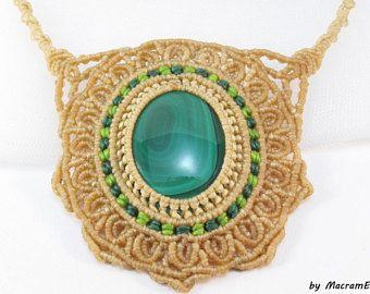 Malachite healing stone mandala necklace
