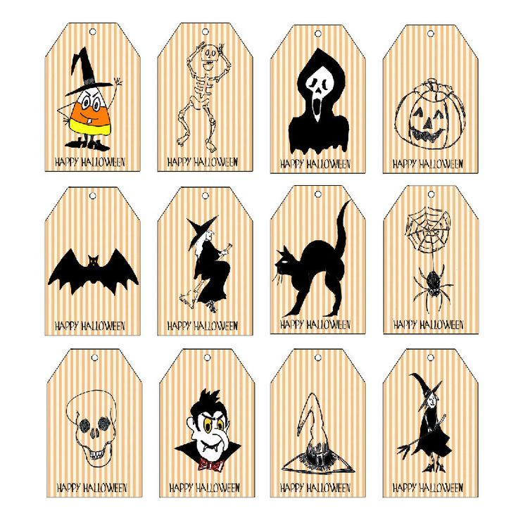 Halloween Printables, 12  Halloween Tags, Instant Download, Printable Halloween, Digital halloween, Halloween Favor Tags, Halloween Favors by LoveMessagesXO on Etsy