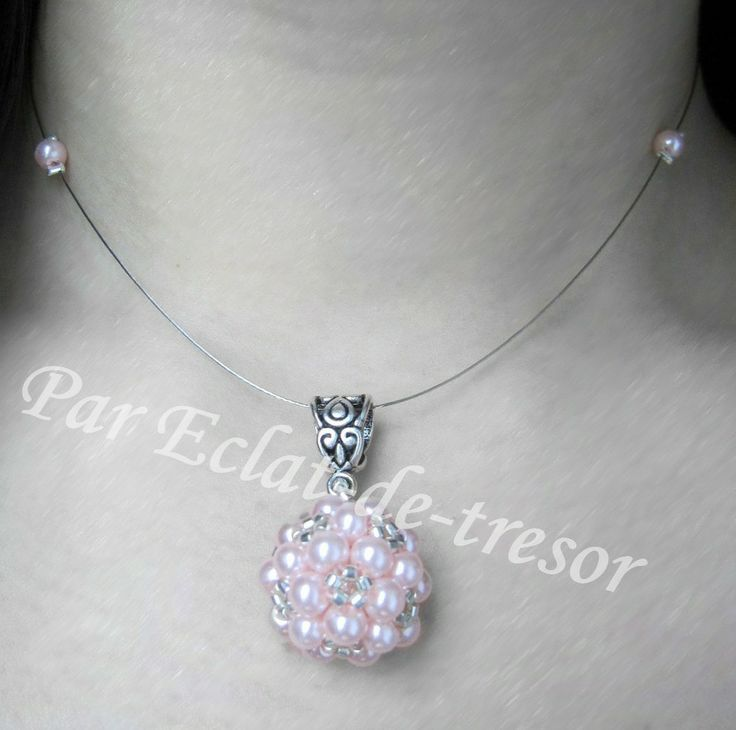 Collier Mariage Sphère tissée perles nacre rose via Eclat de tresor. Click on the image to see more!