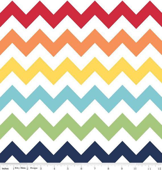 Rainbow chevron fabric Riley Blake Designs Cotton Chevron Fabric  LARGE Chevron  Half yard