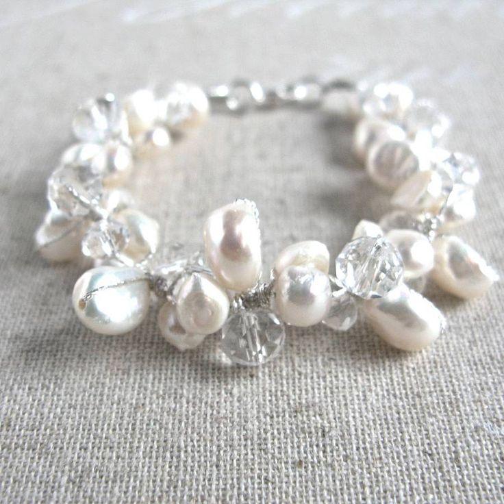 freshwater pearl and crystal bracelet by gama weddings | notonthehighstreet.com