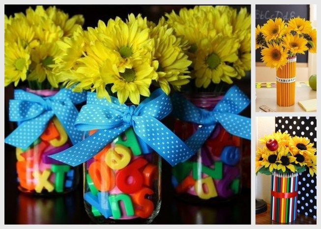 Back to school centerpiece ideas, back to school decor, back to school floral arrangements, about 1/2 way down                                                                                                                                                                                 More