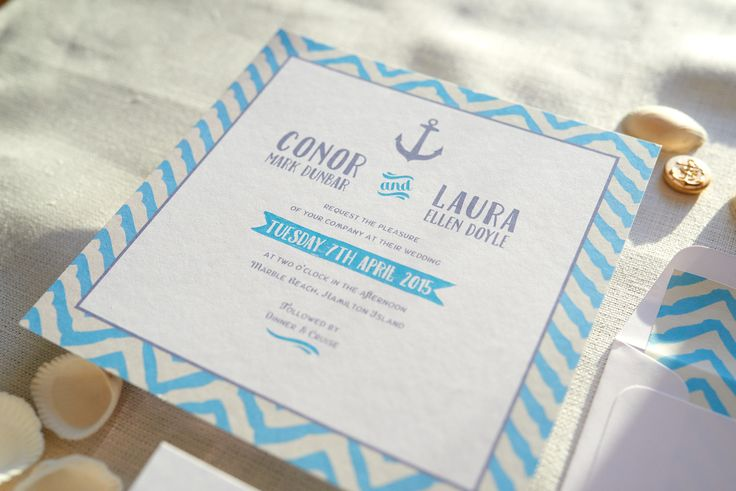 Nautical wedding invitation. Beach, sand and sun!!