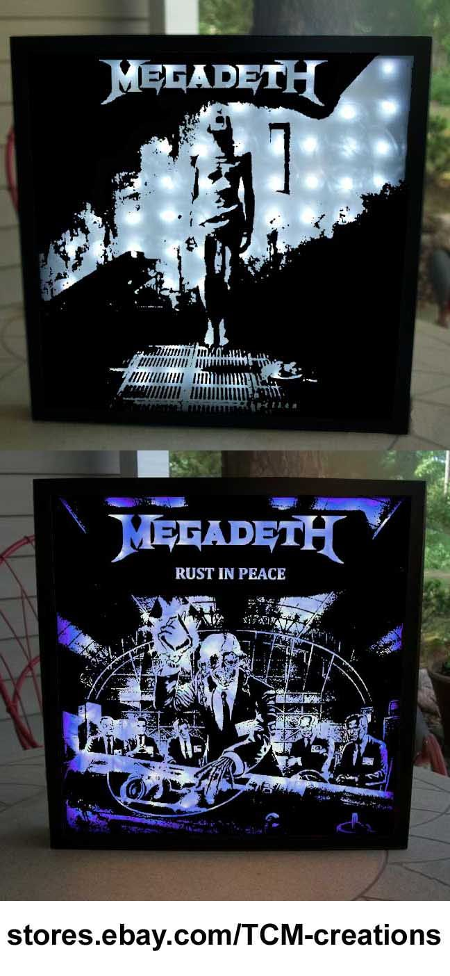 Megadeth shadow boxes with LED lighting.  Dave Mustaine, David Ellefson, Killing Is My Business... And Business Is Good!, Peace Sells... But Who's Buying?, Rust In Peace, So Far... So Good... So What!, Countdown To Extinction, Youthanasia, Cryptic Writings, Risk, The World Needs A Hero, The System Has Failed, United Abominations, Endgame, Thirteen, Super Collider, Dystopia.