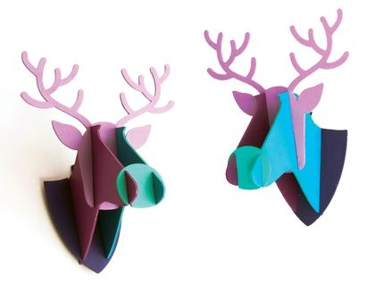 Faux Wooden Deer Trophy Mount