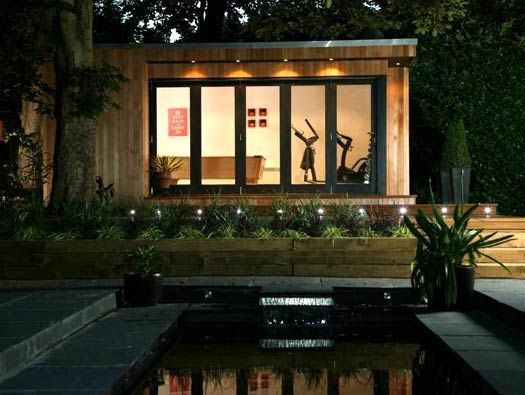 Outbuilding gym. More at: www.myhomerocks.com/2012/05/garden-rooms-outdoor-offices/ #homeimprovement