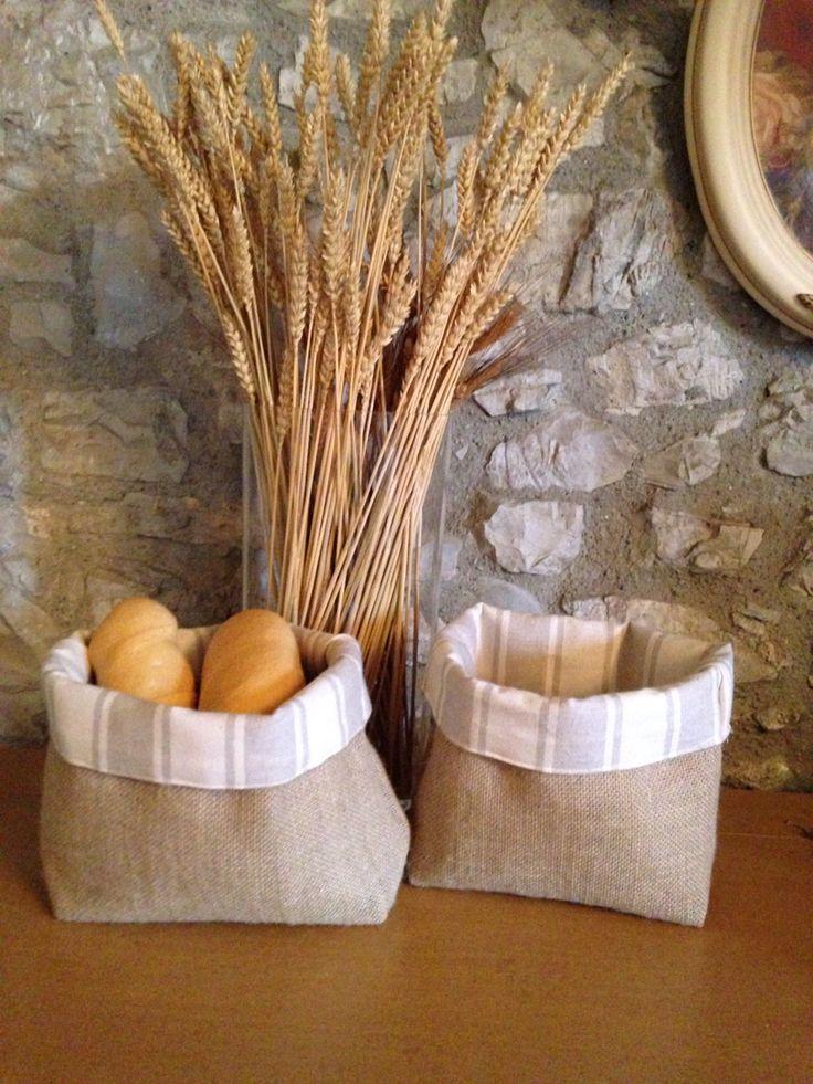 Cesto porta pane in cotone e juta