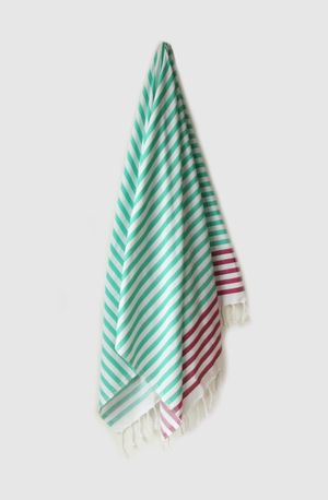 Sheker Candy Stripe Turkish Towel Teal and Amethyst - $49 AUD