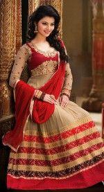 Captivating Deep Beige & Red Salwar Kameez