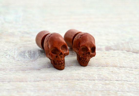 Carved Skull Wood Fake Plugs Earrings Red Brown Tribal Fake Gauge Earrings - Gauges Plugs Bone Horn - FP003 RW