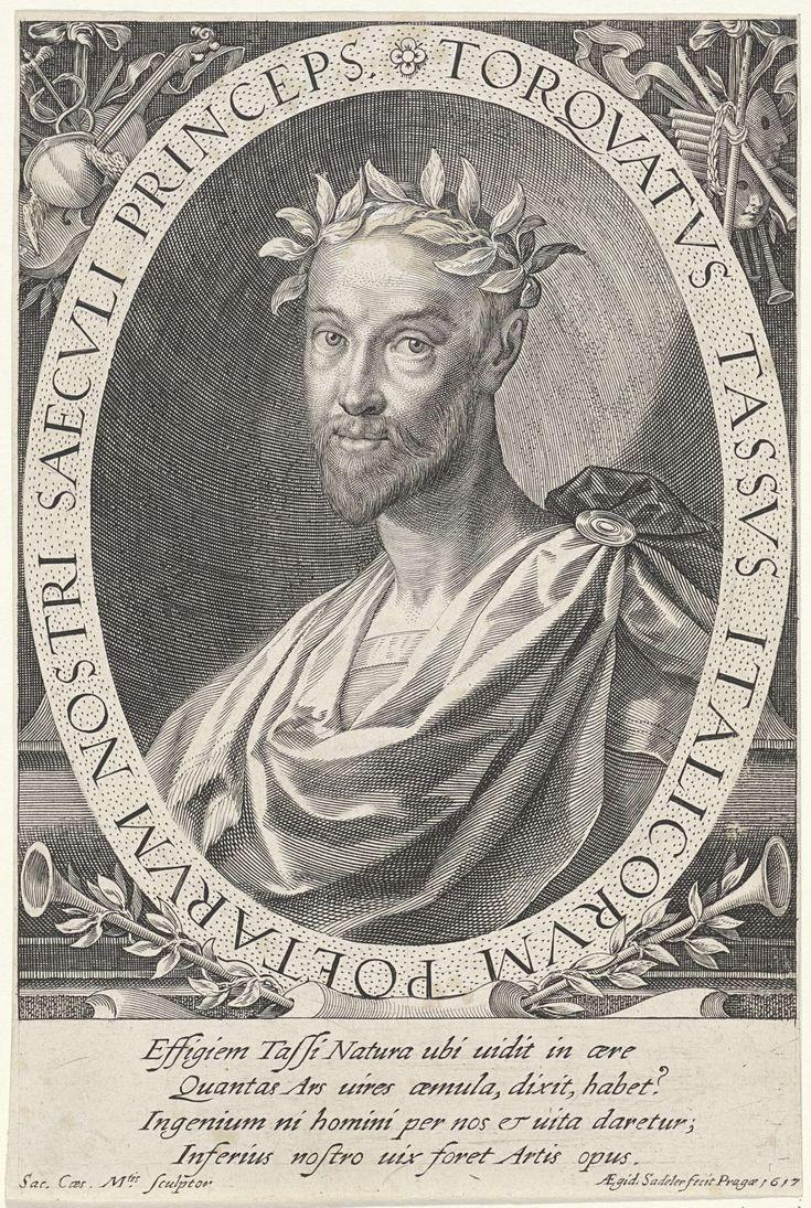 Aegidius Sadeler   Portret van Torquato Tasso, Aegidius Sadeler, 1617   Torquato Tasso, een Italiaanse dichter. In de bovenhoeken muziekinstrumenten en maskers. Onderaan trompetten.