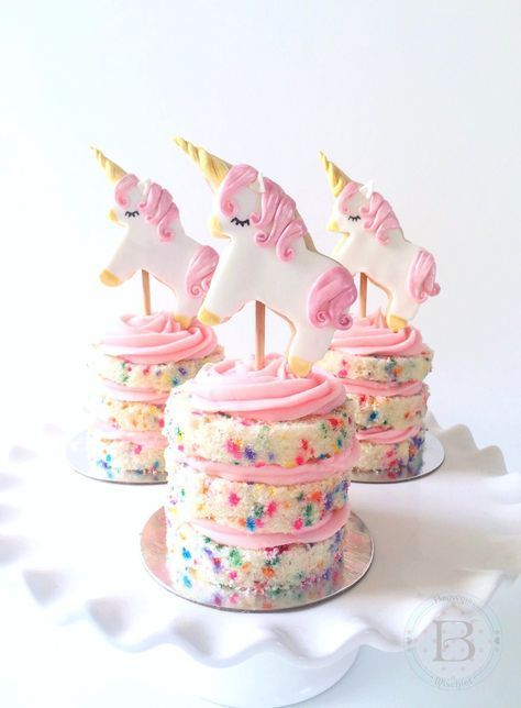 Mini Confetti Cakes with Unicorn Cookie Toppers by Brownie Mischief