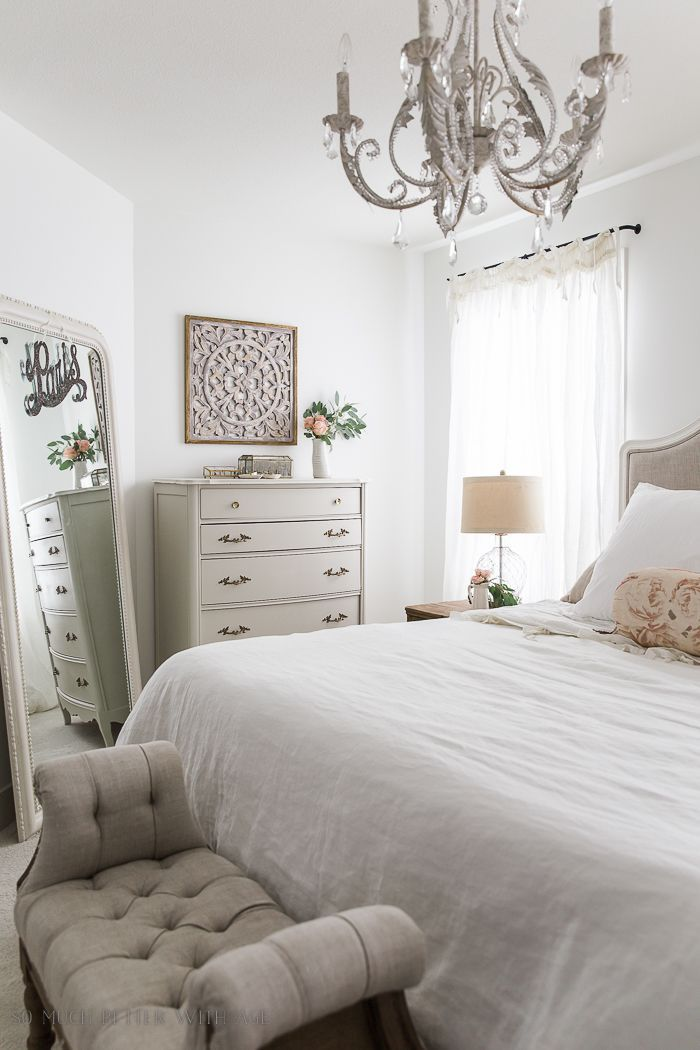 French Vintage Master Bedroom Spring Tour | Home Decor | Chandelier ...