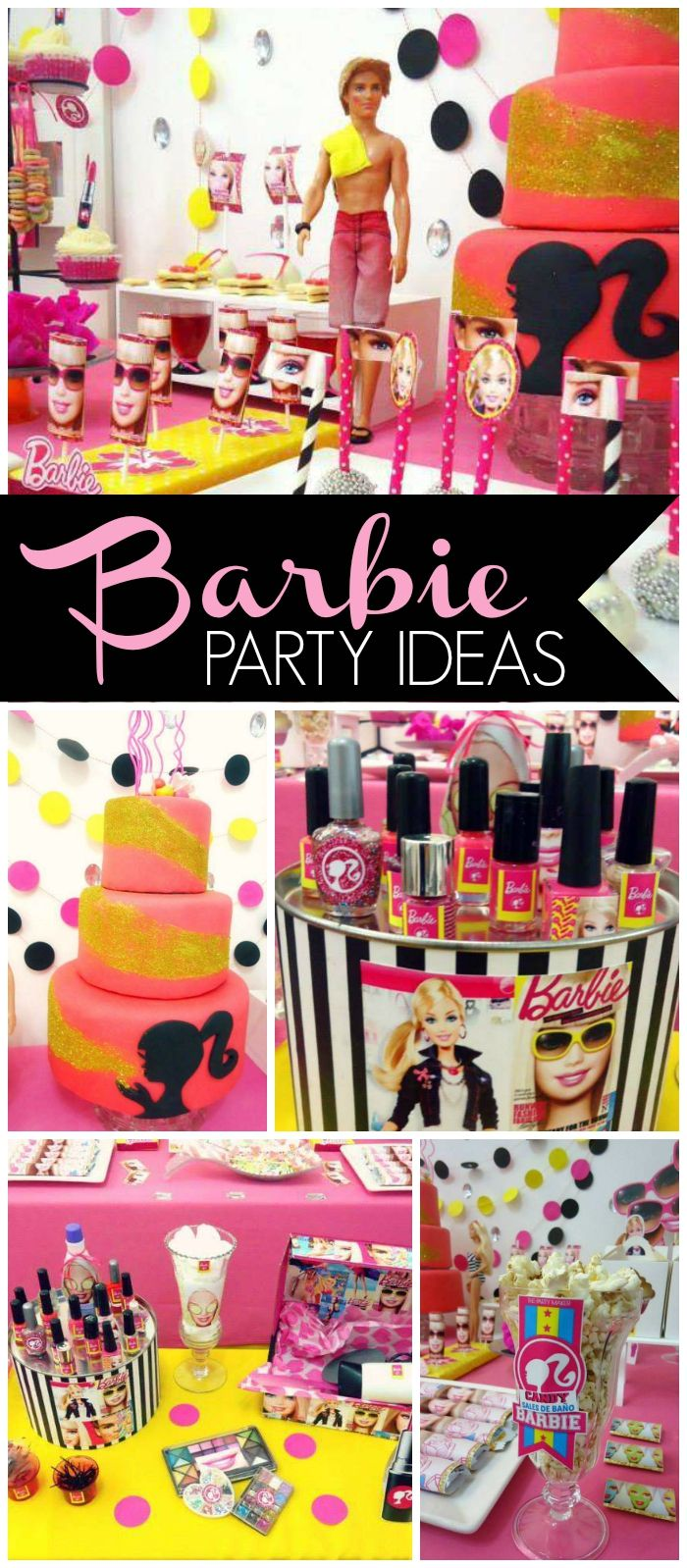 It's a Barbie themed spa day for this birthday party! See more party ideas at CatchMyParty.com!