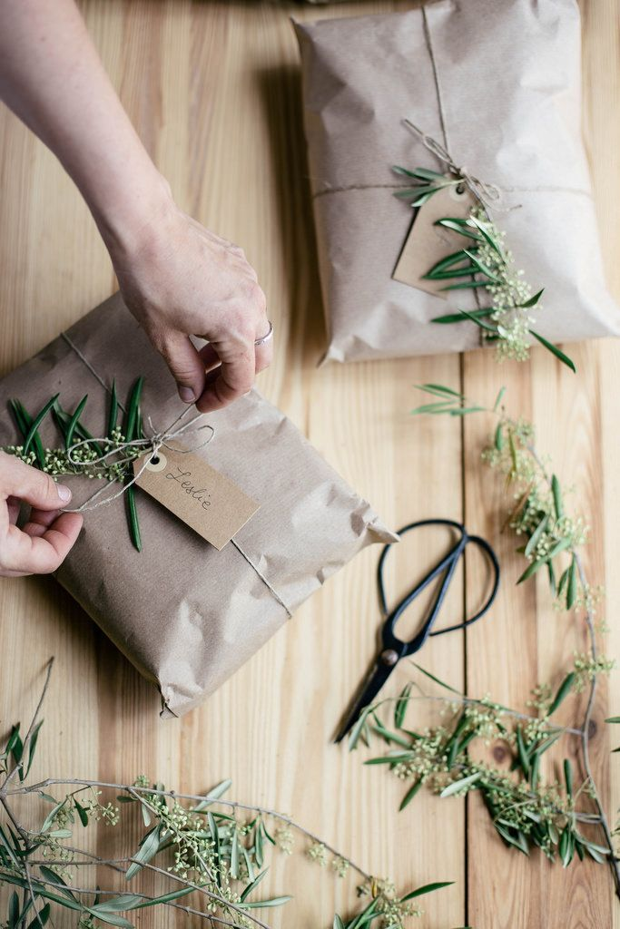 kraft paper | herb adorned gift wrap