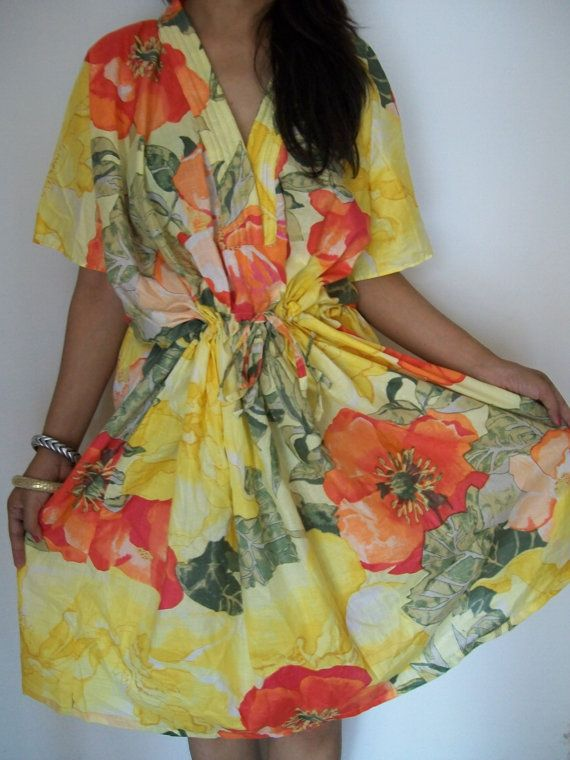 Floral Kaftan  Caftan Perfect long dress Spa Robe by JustCottons, $30.00