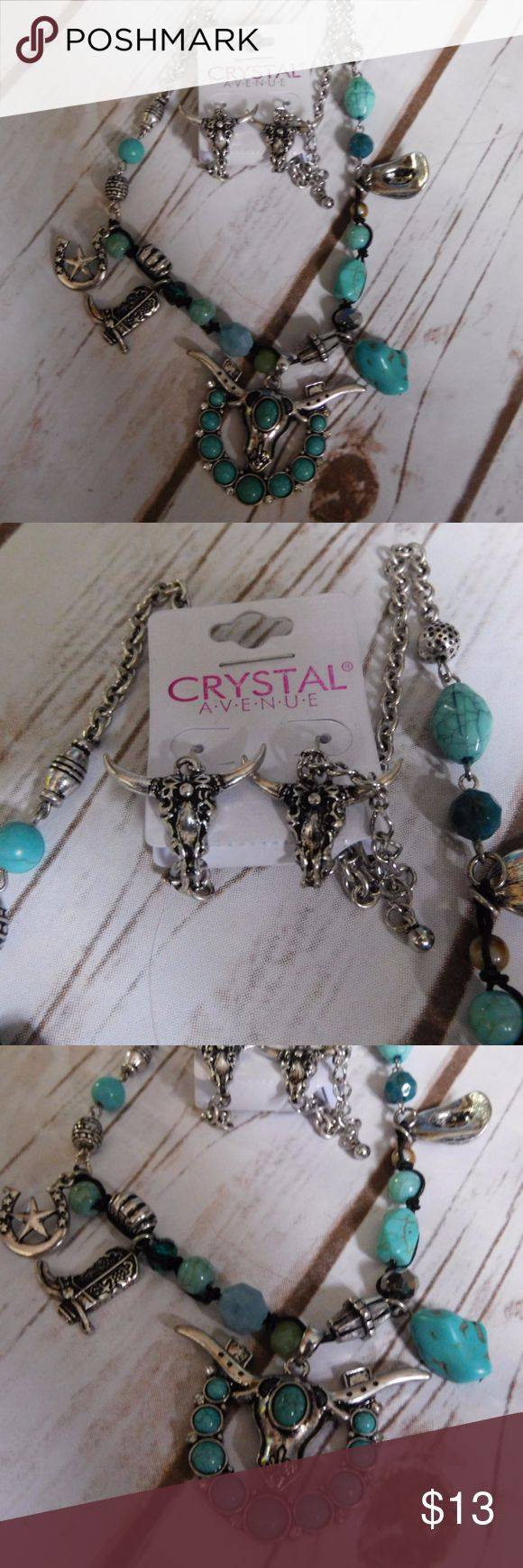 """Bead Encrusted Bull Ornate Charm Necklace Set Approx. 18""""  length Lobster claw clasp with 3""""  extender Lead/Nickel compliant  Earrings Drop Approx. 1.25"""" Fish hook Jewelry Necklaces"""